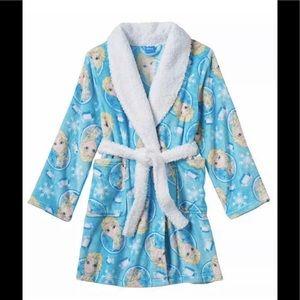 Frozen Girls Plush Blue Robe with Sherpa Collar 4